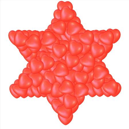 comprised: Giudaismo simbolo religioso - Stella di David composta da piccoli cuori rossi isolato su sfondo bianco. Archivio Fotografico