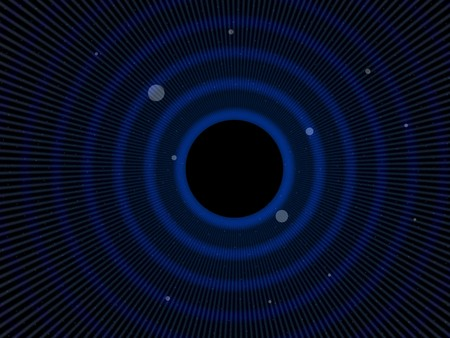 mathematically: Abstract simulated view of a space black hole (center). A black hole is a region of space time from which gravity prevents anything, including light, from escaping