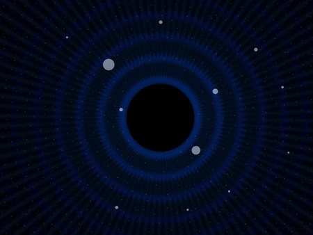 Abstract simulated view of a space black hole (center). A black hole is a region of space time from which gravity prevents anything, including light, from escaping photo