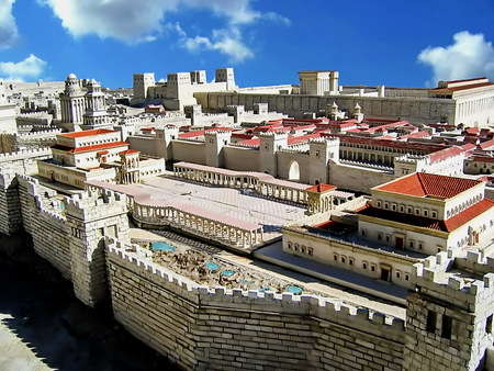 Herod palace, Upper town and Second Temple  Ancient Jerusalem  Israel Stock Photo