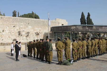 holiest: Israeli   soldiers at the holiest Jewish site - Western Wailing wall Editorial