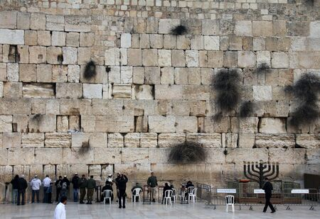 People praying at the holiest Jewish site - Western Wailing wall