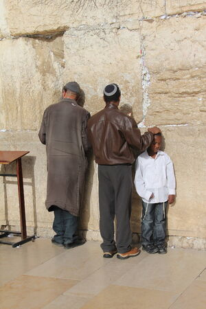 holiest: Prayer at the holiest Jewish site - Western Wailing wall
