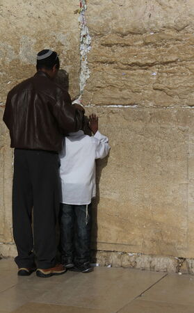 Prayer at Western wall  Jerusalem  Israel photo