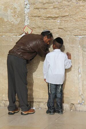 Prayer at Western wall  Jerusalem  Israel