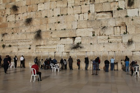 Prayer at the holiest Jewish site - Western Wailing wall