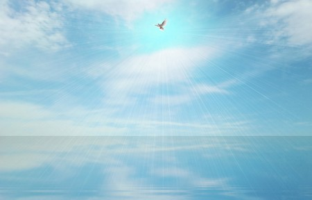 Abstract light beam and holy spirit over blue sea surface