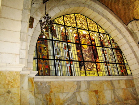 Stained-glass window at Church of the Flagellation and the second station stop Jesus Christ on Via Dolorosa