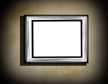 Grunge frame  on  beige  old dirty wall  with black vignette and shadow photo