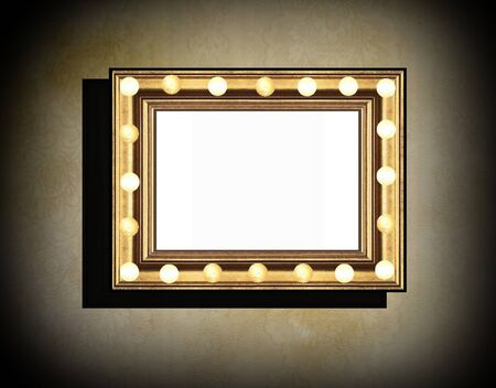 mirror image: Grunge wooden frame with electric lamps along the perimeter on  beige  old dirty wall  with black vignette and shadow