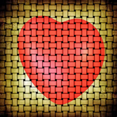 matting:  Red heart picture on abstract grunge beige yellow matting background