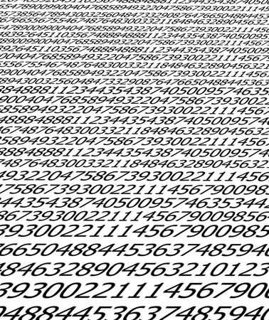 Sequences of digits stream on white background photo