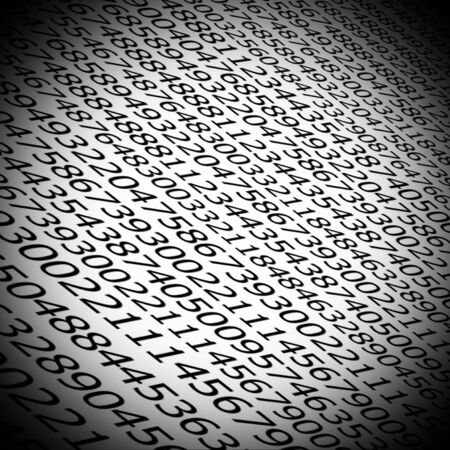 Sequences of digits stream on white background with black vignette photo