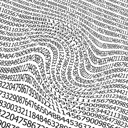 Sequences of digits wave  stream on white background photo