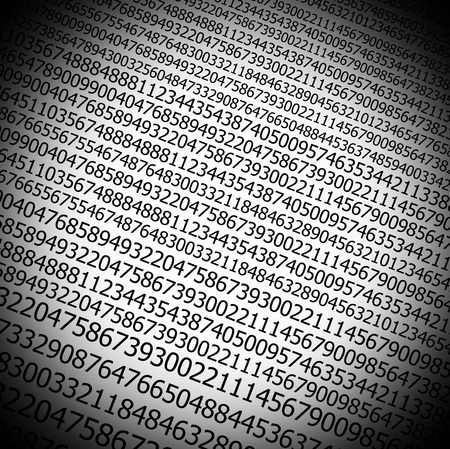 sequences:  Sequences of digits stream on white background with black vignette