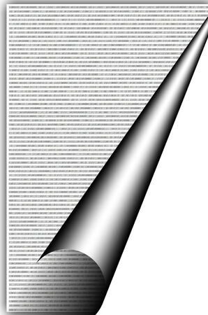 binary code stream on white background with curved corner photo
