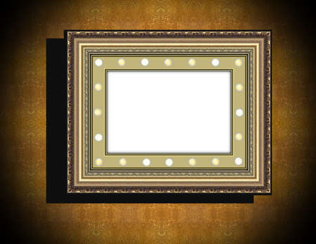 perimeter: Grunge wooden frame with electric lamps along the perimeter on  beige  old dirty wall  with black vignette and shadow