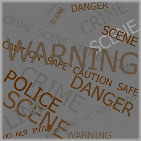 roped off: Warning, Caution, Crime, Police  signs on yellow background with old photo texture Stock Photo