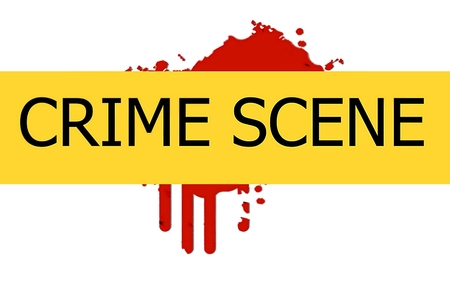 CRIME SCENE   illustration sign on red  blood spot on the white wall background illustration