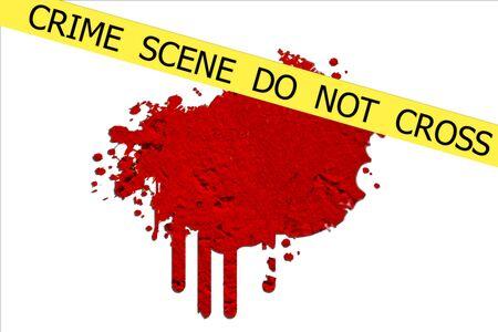 csi: CRIME SCENE  DO NOT CROSS illustration sign on red  blood spot on the white wall background