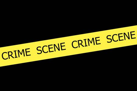 roped off: CRIME SCENE  yellow tape on black background