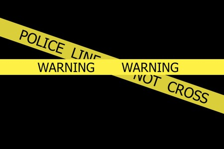 roped off: Warning  and Police Line Do Not Cross yellow  tapes on black background Stock Photo