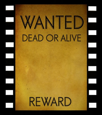 vintage wanted poster template  on film strip background photo