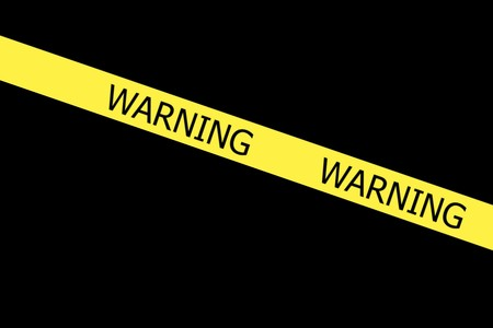 roped off: Warning  yellow tape on black background Stock Photo