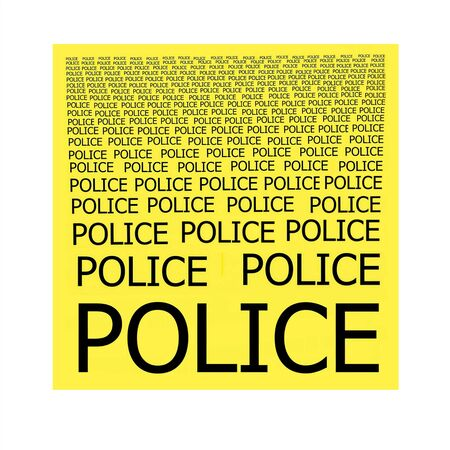 inscriptions: POLICE inscriptions on a yellow background