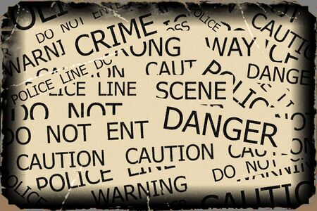 roped off: Warning, Caution, Crime, Police  signs on yellow background with old photo pattern