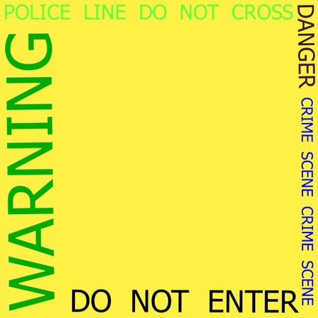 roped off: Warning, Caution, Crime, Police  signs frame on yellow background Stock Photo