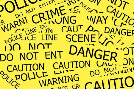 roped off: Warning, Caution, Crime, Police  signs on yellow background