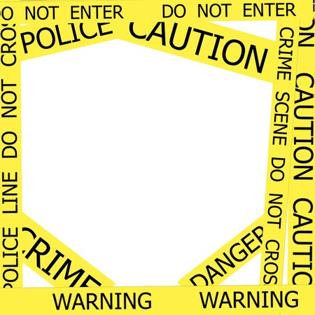 roped off: Warning, Caution, Crime, Police  signs  frame on white background