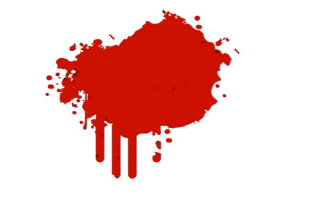 csi: Crime Scene.  Red  blood spot on the white wall background Stock Photo