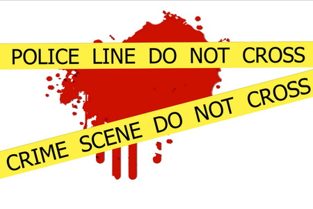 CRIME SCENE  DO NOT CROSS illustration sign on red  blood spot on the white wall background illustration