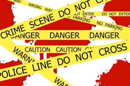 crime scene do not cross: CRIME SCENE  DO NOT CROSS illustration sign on red  blood spot on the white wall background