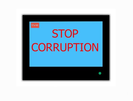 Modern LCD screen with slogan STOP CORRUPTION