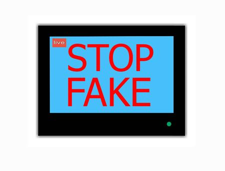 Modern LCD screen with  slogan STOP  FAKE photo
