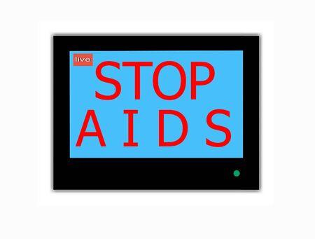Modern LCD screen with  slogan STOP AIDS photo