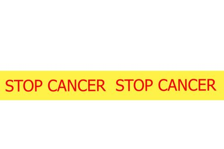 Yellow tape with  slogan STOP CANCER on white background photo