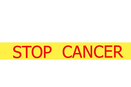 Yellow tape with  slogan STOP CANCER on white background Stock Photo - 28094509