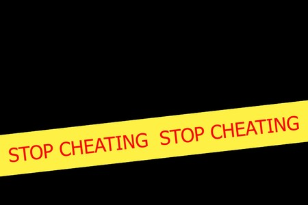 expressing negativity: Yellow tape with  slogan STOP CHIATING on black background Stock Photo