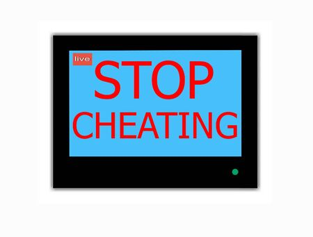 old man on a physical pressure: Modern LCD screen with  slogan STOP CHEATING