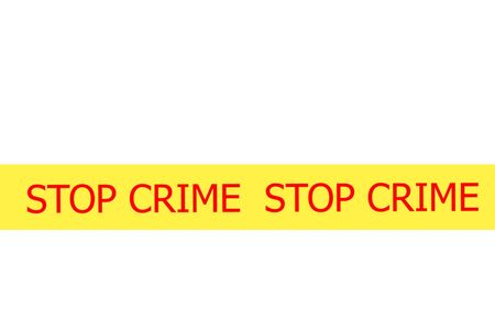 safety slogan: Yellow tape with  slogan STOP CRIME on white background