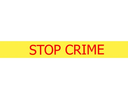 Yellow tape with  slogan STOP CRIME on white background photo