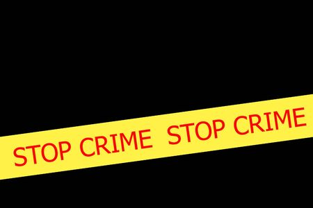 safety slogan: Yellow tape with  slogan STOP CRIME on black background