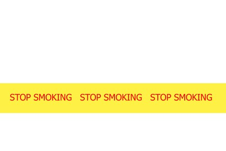 exclude: Yellow tape with  slogan STOP SMOKING  on white background