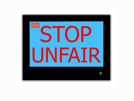 wrongful: Modern LCD screen with  slogan STOP UNFAIR