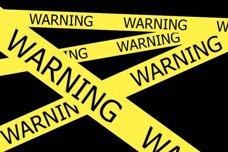 roped off: Warning  tapes on black background
