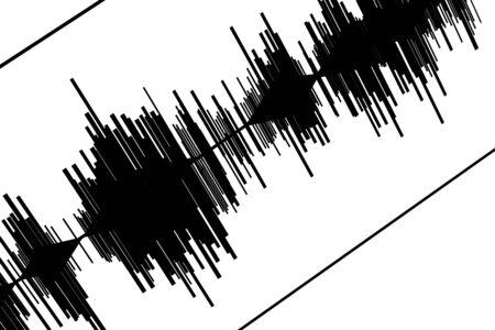 sismogr�fo: Sismograma negro abstracto en el fondo de papel blanco Foto de archivo